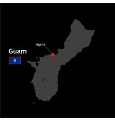 Detailed map of Guam and capital city Agana with vector