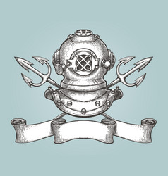 Diving helmet with tridents and ribbon vector