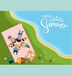 Enjoy summer happy family picnic in outdoor vector