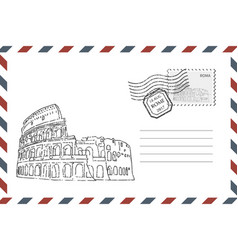 envelope with hand drawn coliseum vector image