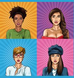 fashion womens pop art cartoon vector image
