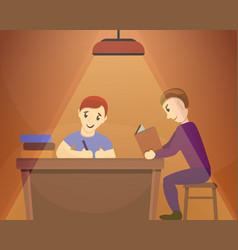 father son homework concept background cartoon vector image