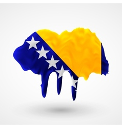 Flag of Bosnia and Herzegovina painted colors vector
