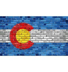 Flag of Colorado on a brick wall vector