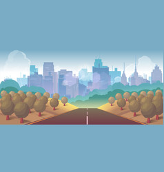 Forest city and road vector