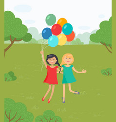 girls having fun jumping together with balloons vector image