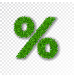 Grass symbol percent green percent isolated on vector