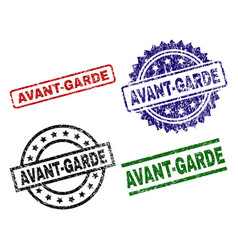 Grunge textured avant-garde seal stamps vector