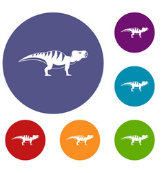 Hadrosaurid dinosaur icons set vector