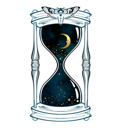 hand drawn line art hourglass with moon and stars vector image