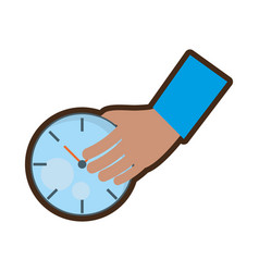 Hand holding watch time delivery vector