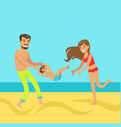 happy mother and father with their son having fun vector image