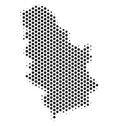 Hex tile serbia map vector