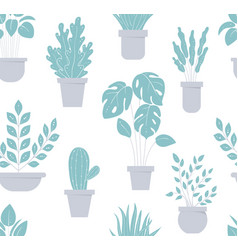 House plant seamless pattern flowerpot background vector