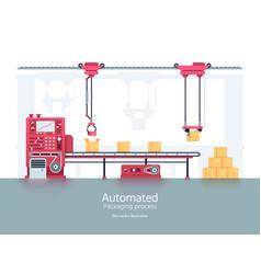 Industrial packaging machine with conveyor vector