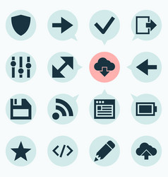 Interface icons set with ahead backward pencil vector