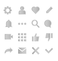 Interface metal icons for web and mobile app vector