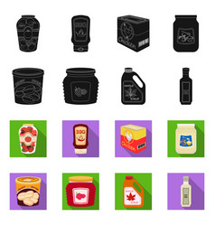 Isolated object of can and food sign collection vector