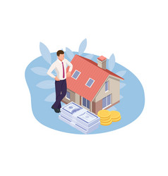Isometric real estate agent with house model vector