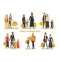 israel family at shop or hebrew couples at mall vector image