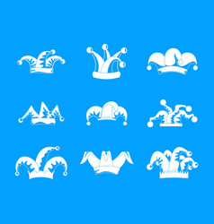 jester fools hat icons set simple style vector image