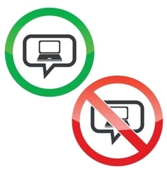 Laptop message permission signs vector image