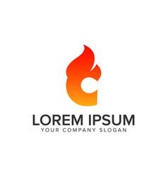 Letter c ignition flame logo design concept vector