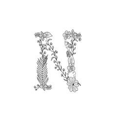 Letter n floral ornament vector