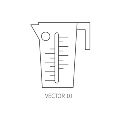 Line flat kitchenware icons - beaker vector