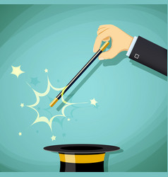 Magic wand and hat focus and legerdemain vector