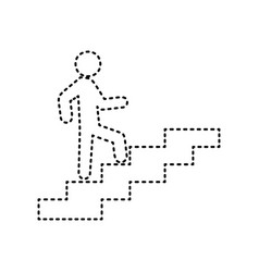 man on stairs going up black dashed icon vector image