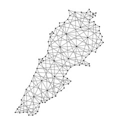 Map of lebanon from polygonal black lines and dots vector
