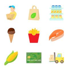 market place icons set cartoon style vector image