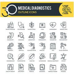 medical diagnostics outline icons vector image