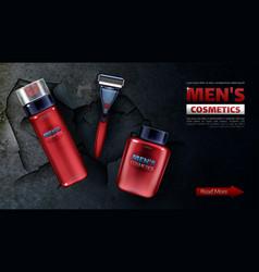 Men cosmetics safety razor blade foam lotion vector