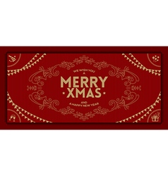 Merry Christmas greeting vintage frame vector
