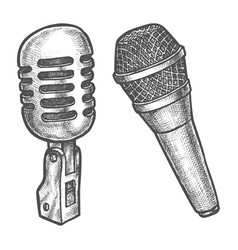 Microphone sketch voice and sound karaoke vector