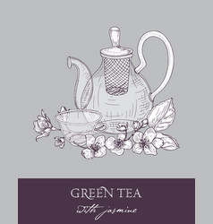 Monochrome drawing of teapot cup of green tea vector
