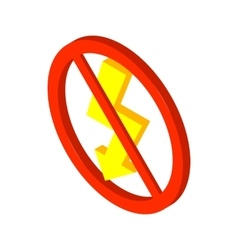 No lightning icon isometric 3d style vector image