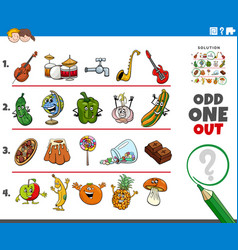 Odd one out picture task with cartoon characters vector