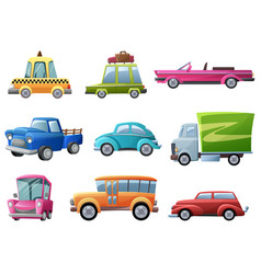 old vintage cartoon retro cars set vector image