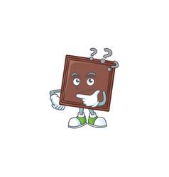 One bite chocolate bar cartoon mascot style vector
