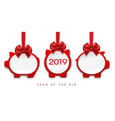 Paper pigs decorations for 2019 new year vector