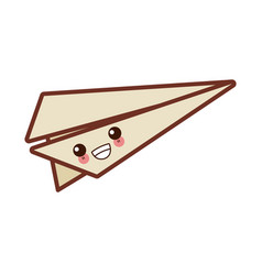 paper plane origami cute kawaii cartoon vector image