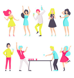 people in fashionable clothes resting and drinking vector image