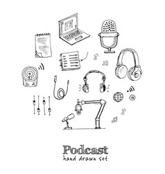 podcast isolated hand drawn doodles set vector image