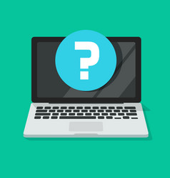question mark on computer screen icon flat vector image