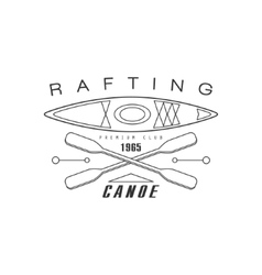 Rabting canoe club emblem design vector