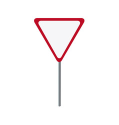 Red sign danger triangle road empty vector