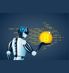 Robot holding bitcoin crypto currency banner vector